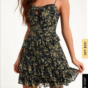 NWT Lulus black floral dress